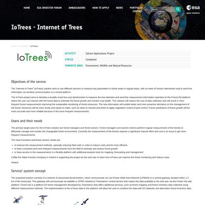 IoTrees - Internet of Trees   ESA Business Applications