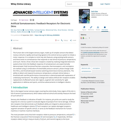 Artificial Somatosensors: Feedback Receptors for Electronic Skins