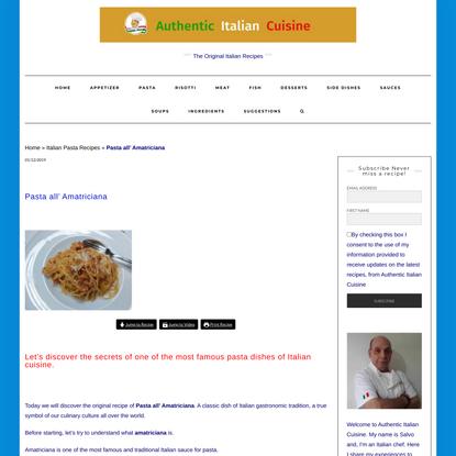 Pasta all' Amatriciana :The original recipe - Authentic Italian Cuisine