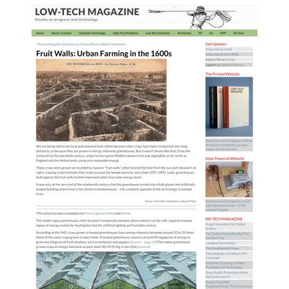 Fruit Walls: Urban Farming in the 1600s