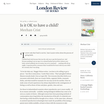 Meehan Crist · Is it OK to have a child? · LRB 23 February 2020