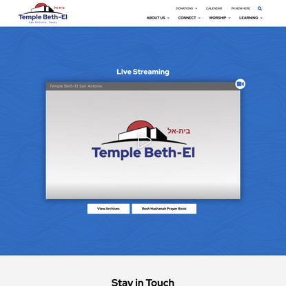 Live Streaming - Temple Beth-El Reform Judaism | San Antonio