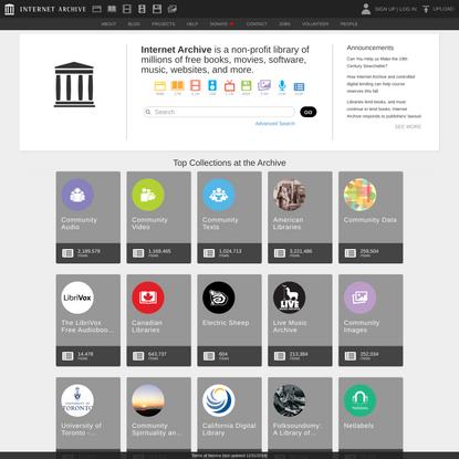 Internet Archive: Digital Library of Free & Borrowable Books, Movies, Music & Wayback Machine