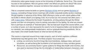 Syllabus - Foundations of Video Game Design