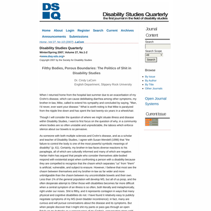 Filthy Bodies, Porous Boundaries: The Politics of Shit in Disability Studies | LaCom | Disability Studies Quarterly