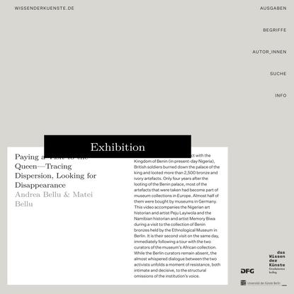 """Exhibition — wissenderkuenste.de — Die Online-Publikation des DFG-Graduiertenkollegs """"Das Wissen der Künste""""."""