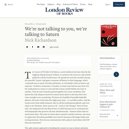 Nick Richardson · We're not talking to you, we're talking to Saturn: Lingua Cosmica · LRB 18 June 2020