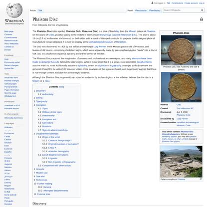 Phaistos Disc - Wikipedia