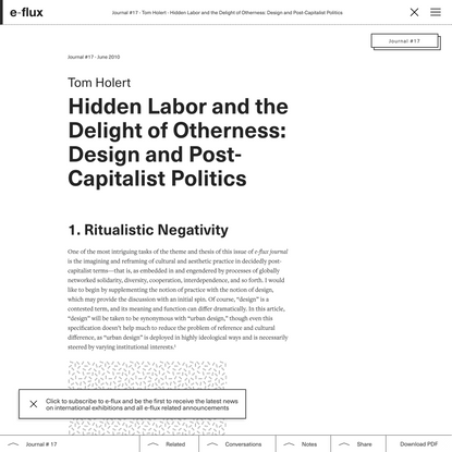 Hidden Labor and the Delight of Otherness: Design and Post-Capitalist Politics