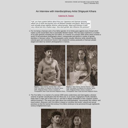 Intersections: An Interview with Interdisciplinary Artist Shigeyuki Kihara