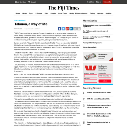 Talanoa, a way of life
