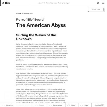 The American Abyss - Journal #111 September 2020 - e-flux