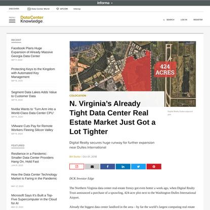 N. Virginia's Already Tight Data Center Real Estate Market Just Got a Lot Tighter