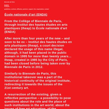 Ecole nationale d'art (ENDA) Biennale de Paris