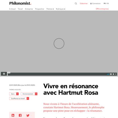 Vivre en résonance avec Hartmut Rosa