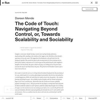 The Code of Touch: Navigating Beyond Control, or, Towards Scalability and Sociability