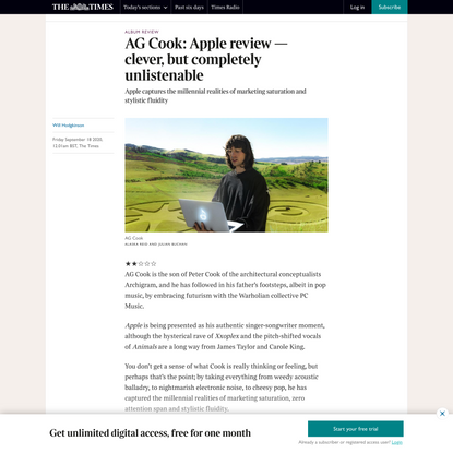 AG Cook: Apple review — clever, but completely unlistenable
