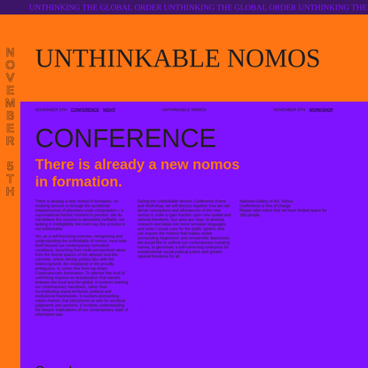 Unthinkable Nomos - Unthinking the global order Unthinking the global order Unthinking the global order Unthinking the global order Unthinking the global order
