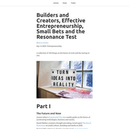Builders and Creators, Effective Entrepreneurship, Small Bets and the Resonance Test