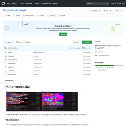 GitHub - keijiro/KinoFeedback2: Old-school frame feedback effect for Unity HDRP