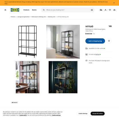 VITTSJÖ black-brown, glass, Shelving unit, Width: 100 cm - IKEA