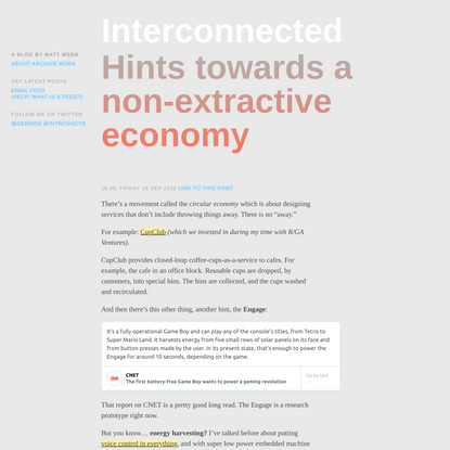 Hints towards a non-extractive economy (Interconnected)