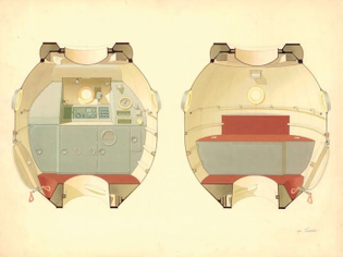 Galina Balashova, Color study for the living area of the Sojus-M spacecraft (1970–1974, design not realized)