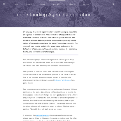 Understanding Agent Cooperation | DeepMind