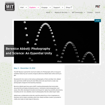Berenice Abbott: Photography and Science: An Essential Unity   MIT Museum