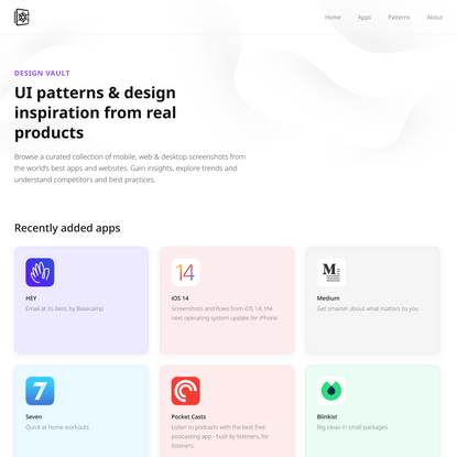 Design Vault • UI Design Patterns, Interactions & Inspiration