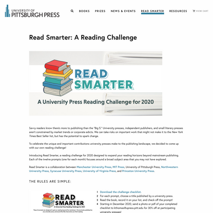 Read Smarter: A Reading Challenge - University of Pittsburgh Press