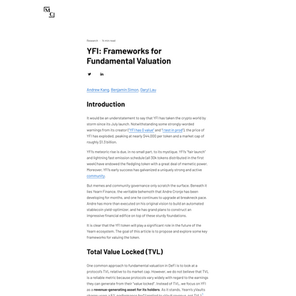YFI: Frameworks for Fundamental Valuation