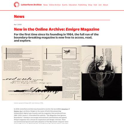 New in the Online Archive: <cite>Emigre</cite> Magazine