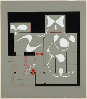 "Herbert Bayer, Floor plan for the exhibition ""Bauhaus 1919-1928,"" The Museum of Modern Art, New York, December 7, 1938-January 30, 1939 (1938)"