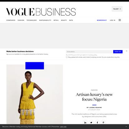 Artisan luxury's new focus: Nigeria