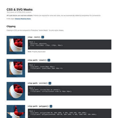 CSS & SVG Masks (Test cases)