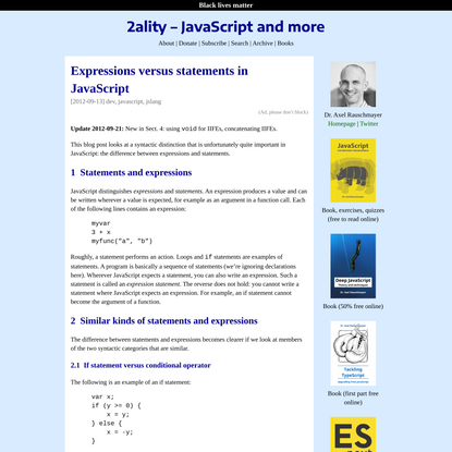 Expressions versus statements in JavaScript