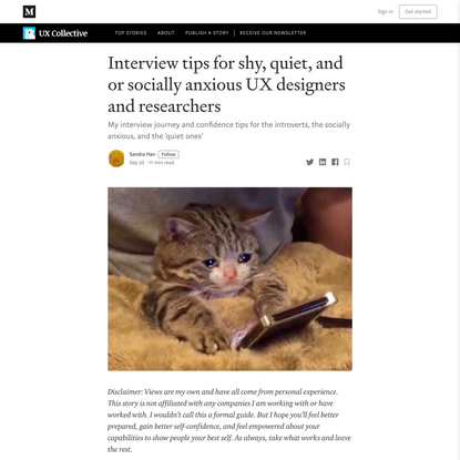 Interview tips for shy, quiet, and or socially anxious UX designers and researchers