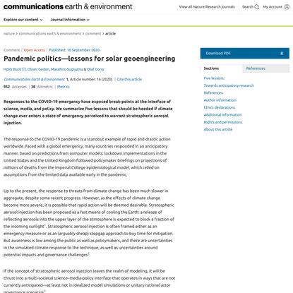 Pandemic politics—lessons for solar geoengineering