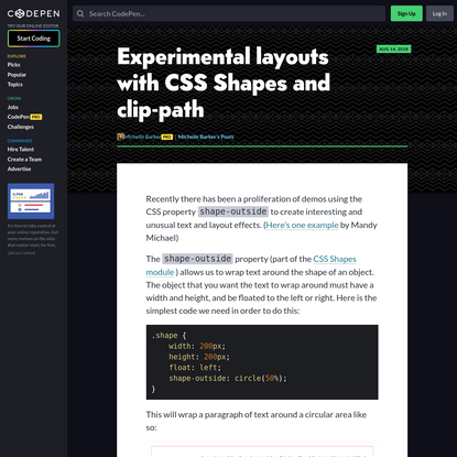Experimental layouts with CSS Shapes and clip-path