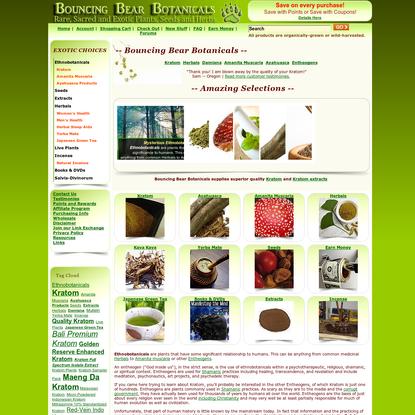 Bouncing Bear Botanicals supplies kratom ethnobotanicals herbs and more