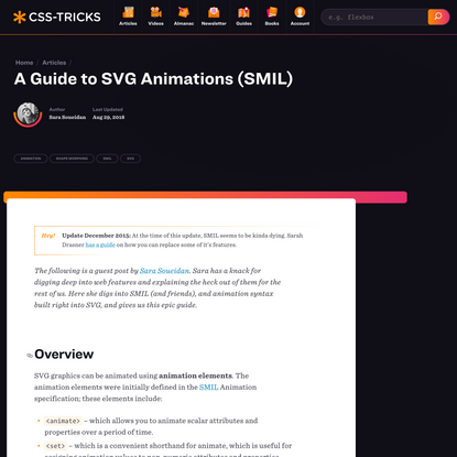 A Guide to SVG Animations (SMIL) | CSS-Tricks