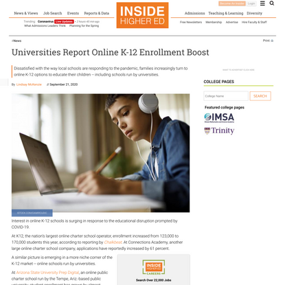 Universities operating online K-12 schools report enrollment boost due to COVID-19