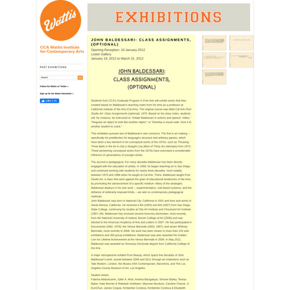John Baldessari: Class Assignments, (optional) | CCA Wattis Institute for Contemporary Arts