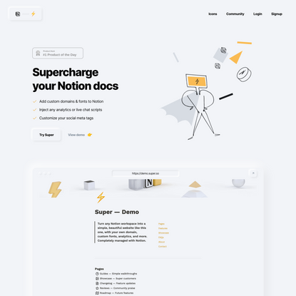 Super — Custom domains, fonts, and analytics for Notion.