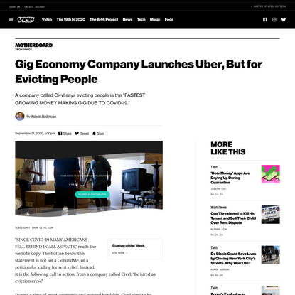Gig Economy Company Launches Uber, But for Evicting People