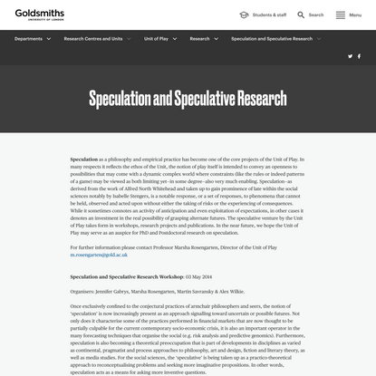 Speculation and Speculative Research