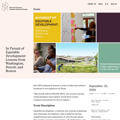 In Pursuit of Equitable Development: Lessons from Washington, Detroit, and Boston - Harvard Graduate School of Design