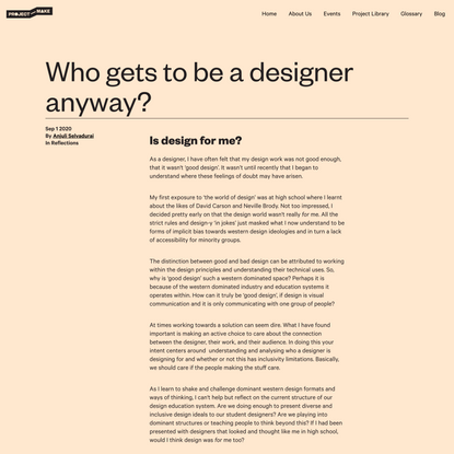 Project Make   Who gets to be a designer anyway?