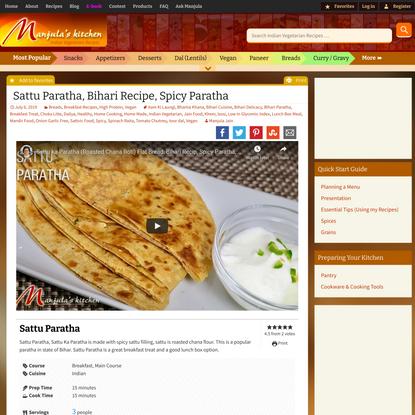 Sattu Paratha, Bihari Recipe, Spicy Paratha - Manjula's Kitchen - Indian Vegetarian Recipes